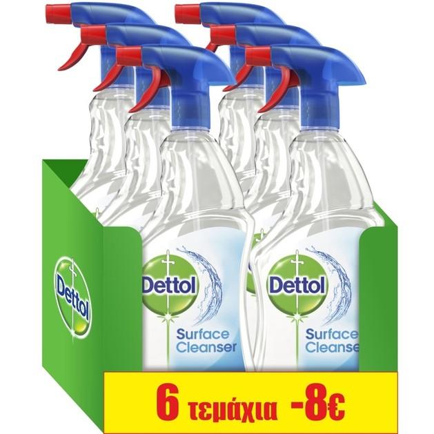 Dettol Πακέτο Προσφοράς Anti-Bacterial Surface Cleanser Spray Αντιβακτηριδιακό Απολυμαντικό Επιφανειών 6x500ml
