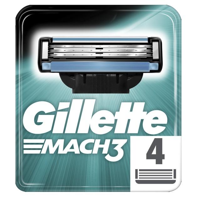 Gillette Mach 3 Ανταλλακτικά Ξυραφάκια με Λεπίδες πιο Δυνατές Από Ατσάλι 4 Τεμάχια