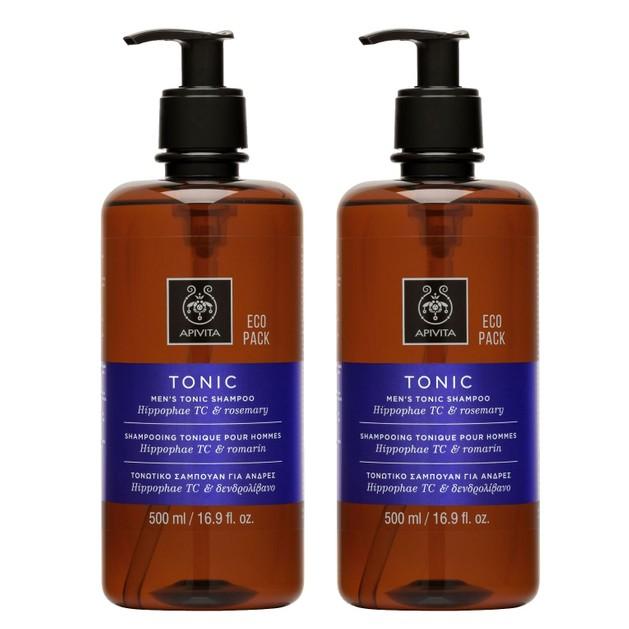 Apivita Πακέτο Προσφοράς Men\'s Tonic Shampoo Hippophae TC & Rosemary Σαμπουάν Κατά της Τριχόπτωσης για Άνδρες 2x500ml 1+1 Δώρο