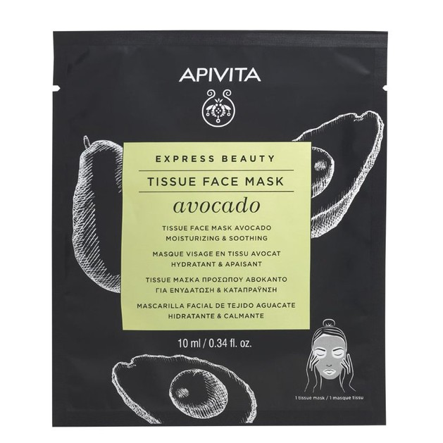 Apivita Express Beauty Tissue Face Mask Avocado Sheet Μάσκα Προσώπου για Ενυδάτωση & Καταπράυνση με Αβοκάντο 10ml