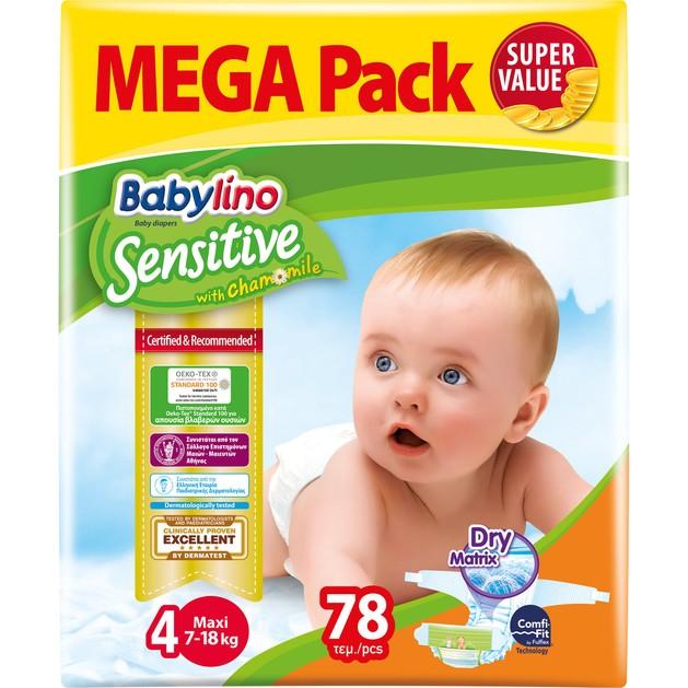 Babylino Sensitive  Mega Pack Maxi Νο4 (7-18kg) Βρεφικές Πάνες 78 τεμάχια