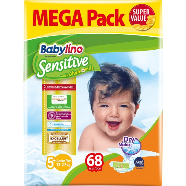 Babylino Sensitive Mega Pack Junior Plus Νο5+ (13-27kg) Παιδικές Πάνες 68 τεμάχια