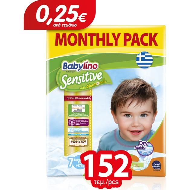 Babylino Sensitive Monthly Pack Extra Large Plus Νο7 (17+ kg) Παιδικές Πάνες 152 τεμάχια
