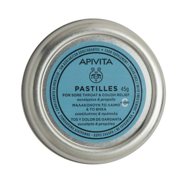 Apivita Pastilles For Sore Throat & Cough Relief With Eucalyptus & Propolis 45g