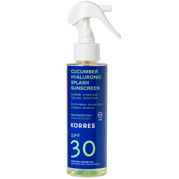 Korres Cucumber Hyaluronic Splash Sunscreen Spray Spf30 Αντηλιακό Water Υφή Προσώπου Σώματος Ενισχυμένο με Υαλουρονικό Οξύ 150ml