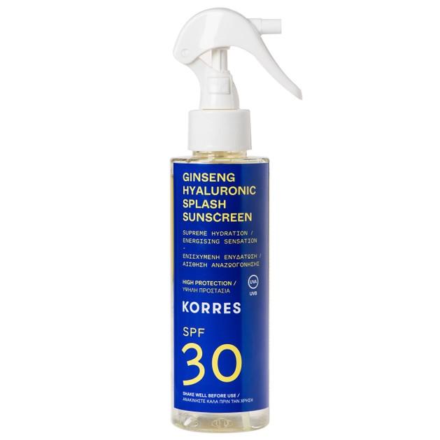 Korres Ginseng Hyaluronic Splash Sunscreen Spray Spf30 Αντηλιακό Water Υφής Προσώπου Σώματος Ενισχυμένο με Υαλουρονικό Οξύ 150ml