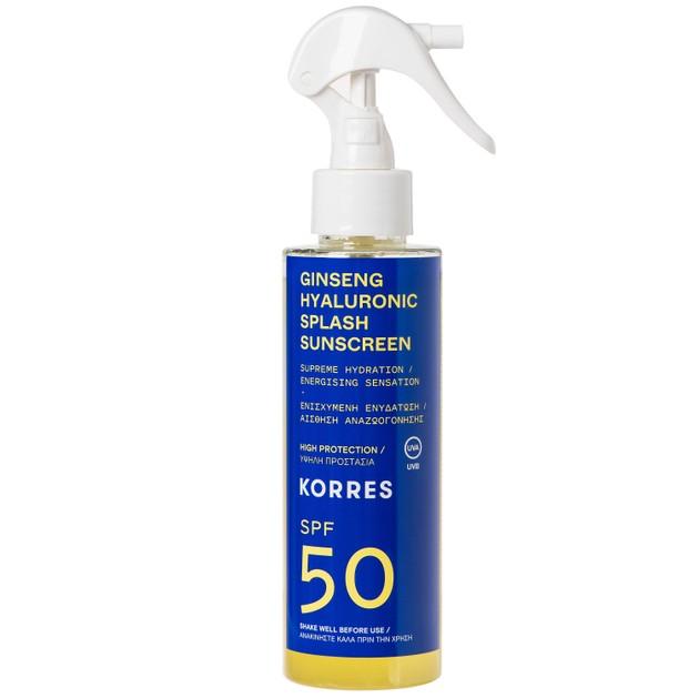 Korres Ginseng Hyaluronic Splash Sunscreen Spray Spf50 Αντηλιακό Water Υφής Προσώπου Σώματος Ενισχυμένο με Υαλουρονικό Οξύ 150ml