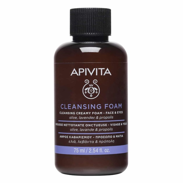 Apivita Cleansing Foam Face & Eyes With Olive, Lavender & Propolis 75ml
