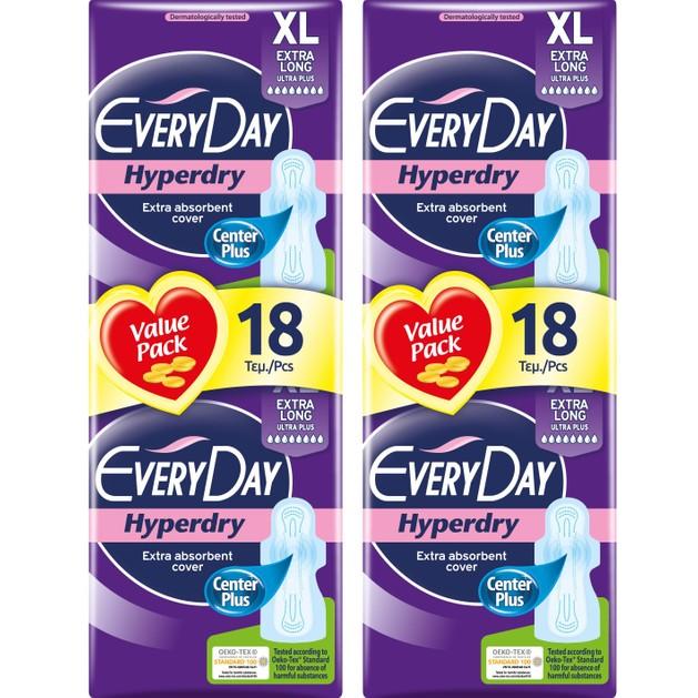 Every Day Πακέτο Προσφοράς Hyperdry Extra Long XL Value Pack Σερβιέτες Ιδανικές για Μεγάλη Ροή 2x18 Τεμάχια 1+1 Δώρο