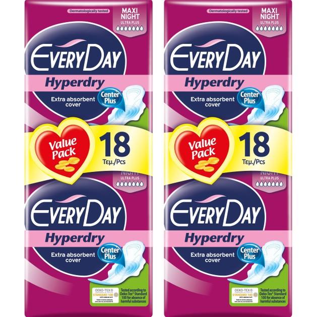 Every Day Πακέτο Προσφοράς Hyperdry Maxi Night Value Pack Σερβιέτες Ιδανικές για τη Νύχτα 2x18 Τεμάχια 1+1 Δώρο