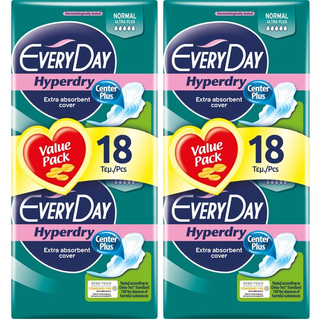 Every Day Πακέτο Προσφοράς Hyperdry Normal Ultra Plus Value Pack Σερβιέτες Ιδανικές για Κανονική Ροή 2x18 Τεμάχια 1+1 Δώρο