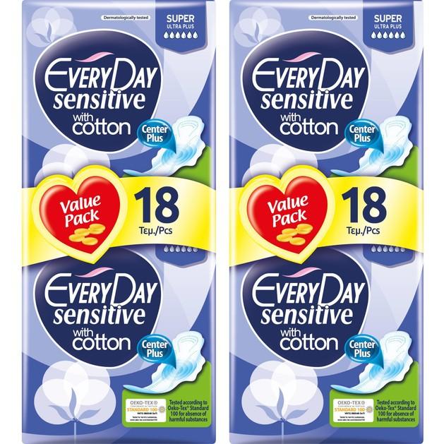 Every Day Πακέτο Προσφοράς Sensitive Super Ultra Plus Value Pack Σερβιέτες Ιδανικές για Πολύ Μεγάλη Ροή 2x18 Τεμάχια 1+1 Δώρο