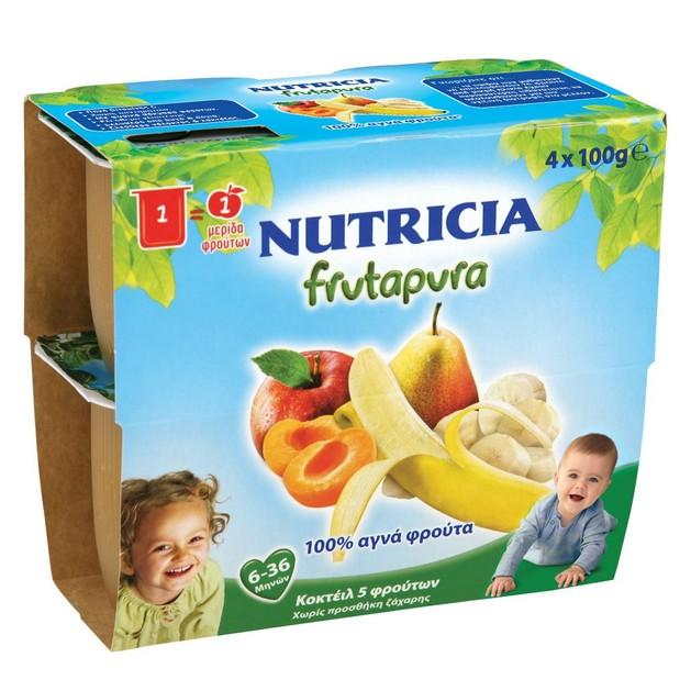 Nutricia Frutapura Έτοιμη Φρουτόκρεμα 5 Φρούτων από 6-36 Μηνών 4x100gr