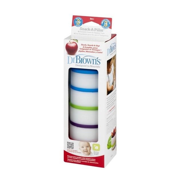 Dr Brown\'s Snack-A-Pillar 765 Κυπελλάκια Αποθήκευσης Φαγητού από 6 Μηνών 4 Τεμάχια