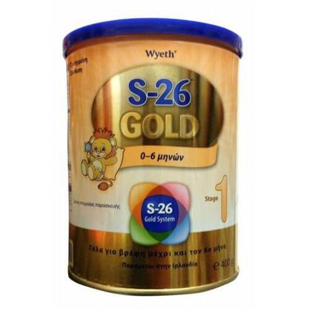 Wyeth S-26 Ι Gold Βρεφικό Γάλα από τη Γέννηση Μέχρι τον 6ο μήνα Θρεπτική & Ισορροπημένη Τροφή της Πρώτης Ηλικίας 400gr