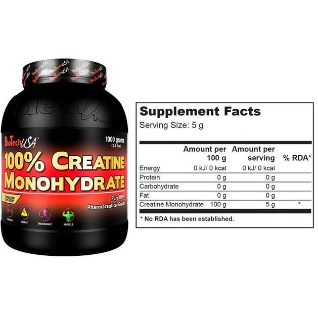 Biotech Usa 100% Creatine Monohydrate Καθαρή Μονοϋδρική Κρεατίνη 1000gr