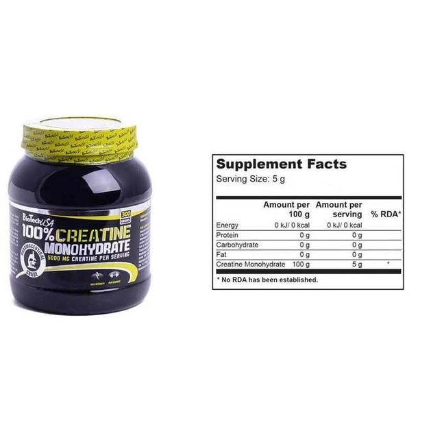 Biotech Usa 100% Creatine Monohydrate Καθαρή Μονοϋδρική Κρεατίνη 300gr