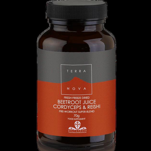 Terranova Beetroot Juice Cordyceps & Reishi Μοναδική Σύνθεση απο Παντζάρια για Ισχυρή Αντοχή και Ενέργεια με Διάρκεια 70gr