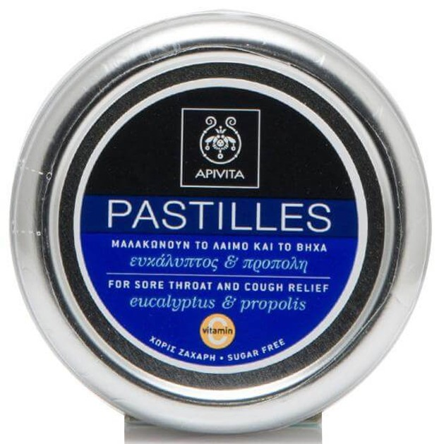 Pastilles For Sore Throat & Cough Relief With Eucalyptus & Propolis 45g - Apivita