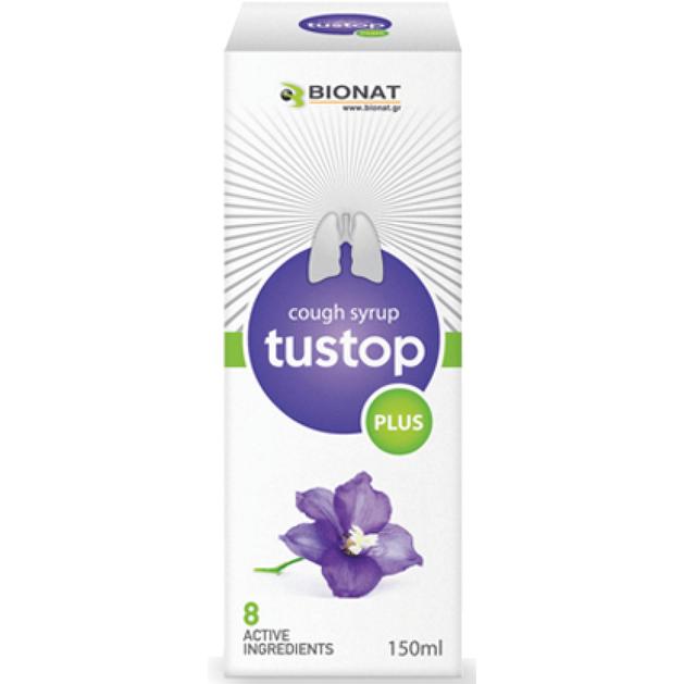 Bionat Tustop plus Φυσικό Σιρόπι για τον Ξηρό & Παραγωγικό Βήχα, Ενίσχυση του Ανοσοποιητικού 150ml