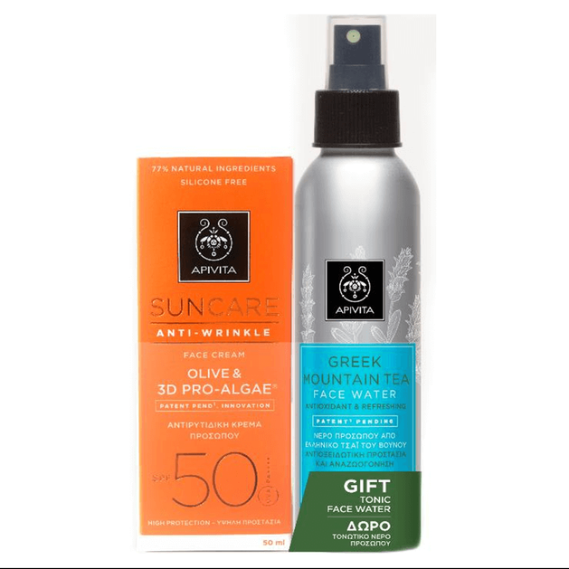 Apivita Πακέτο Προσφοράς Suncare Anti-Wrinkle Olive 3D & Pro-Algae Spf50, 50ml & MountainTea 100ml