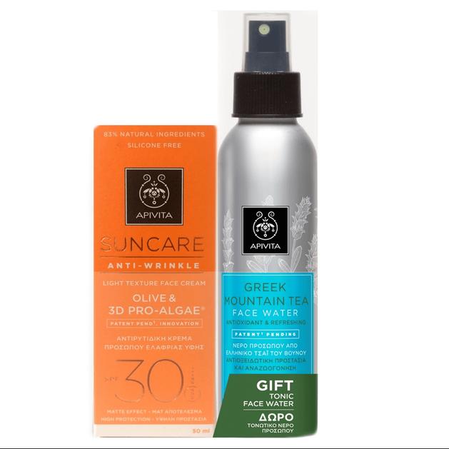 Apivita Πακέτο Προσφοράς Suncare Anti-Wrinkle Olive 3D & Pro-Algae Spf30, 50ml & MountainTea 100ml