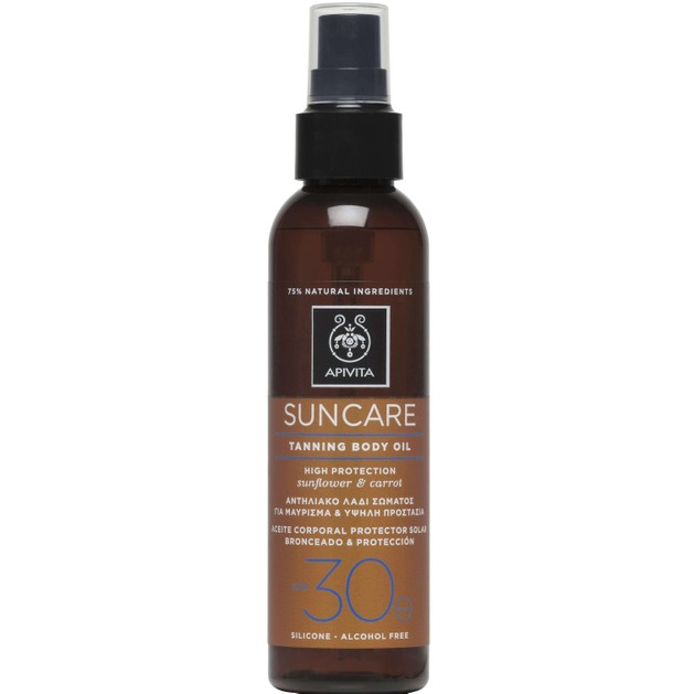 Apivita Suncare Tanning Body Oil With Sunflower & Carrot Spf30, 150ml