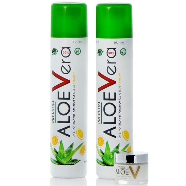 Premium Aloe V Promo Βιολογικό Gel Αλόης 2x750ml + Δώρο Premium Aloe V Ενυδατική Προσώπου 50ml