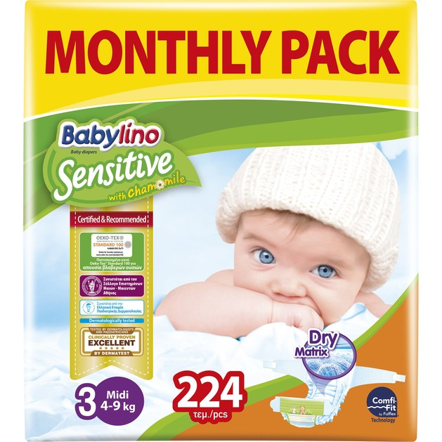 Babylino Sensitive Monthly Pack Midi Νο3 (4-9kg) Βρεφικές Πάνες  224 τεμάχια