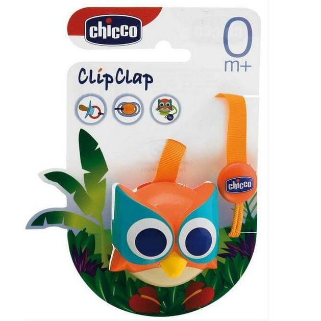 Chicco Clip Clap Κλιπ Πιπίλας με Υφασμάτινη Κορδέλα Κουκουβάγια 0m+