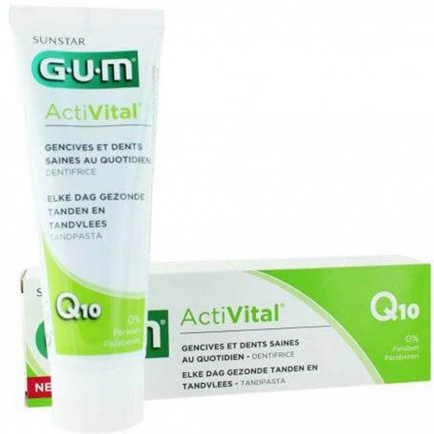 Gum 6050 Activital Q10 Toothpaste Οδοντόκρεμα Καθημερινής Προστασίας Ούλων-Δοντιών με Αντιοξειδωτικά Q10 & Ρόδι 0% Parabens 75ml
