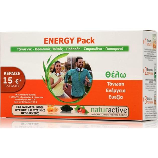 Naturactive Energy Pack - Τζίνσεγκ, Βασιλικός Πολτός, Πρόπολη, Σπιρουλίνα, Γκουαρανά για Τόνωση & Ενέργεια 30 sticks