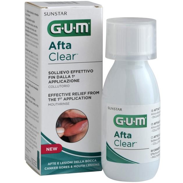 Gum Afta Clear Mouthrinse Στοματικό Διάλυμα για Άμεση Ανακούφιση Πόνου και Γρήγορης Επούλωσης 120ml