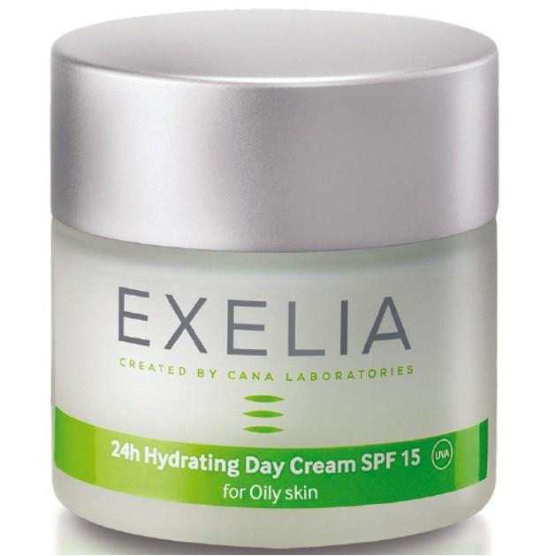 Exelia 24h Hydrating Day Cream Spf15 UVA for Oily Skin 24η Ενυδατική Κρέμα Προσώπου για Λιπαρές Επιδερμίδες 50ml