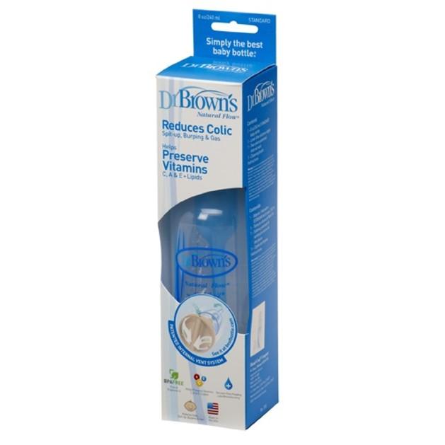 Dr. Brown\'s 255-GB Μπιμπερό Πλαστικό με στενό λαιμό, Θηλή Σιλικόνης 240ml, 1 τεμάχιο