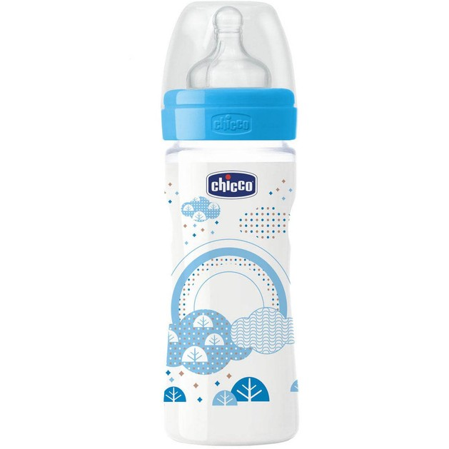 Chicco Πλαστικό Μπιμπερό με Θηλή Σιλικόνης Μέτριας Ροής Μπλε 2m+ 250ml