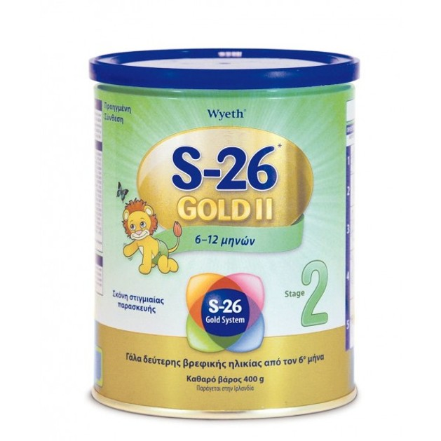 Wyeth S-26 ΙΙ Gold Βρεφικό Γάλα από τον 6ο Μήνα Αποτελεί μία Θρεπτική & Ισορροπημένη Τροφή της Δεύτερης Βρεφικής Ηλικίας 400gr