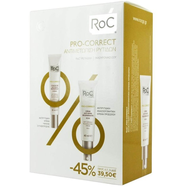 RocPro-Correct Αντιρυτιδική Κρέμα Προσώπου Πλούσιας Υφής 40ml & Αντιρυτιδική Κρέμα Εντατικής Φροντίδας30ml Promo -45%