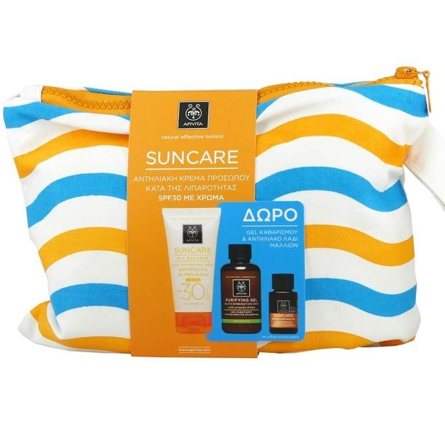 Apivita Πακέτο Suncare Oil Balance Tinted Light Texture Face Cream Spf30,50ml & Gel Καθαρισμού 75ml & Hair Oil 20ml & Νεσεσέρ