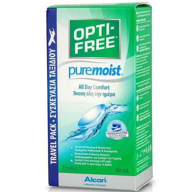 Alcon Opti-Free Pure Moist Υγρό Φακών Επαφής για Άνεση Όλη Μέρα Travel Pack 90ml