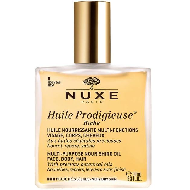 Nuxe Huile Prodigieux Riche Πολυχρηστικό Θρεπτικό Λάδι για Πρόσωπο, Σώμα & Μαλλιά για Πολύ Ξηρή Επιδερμίδα 100ml