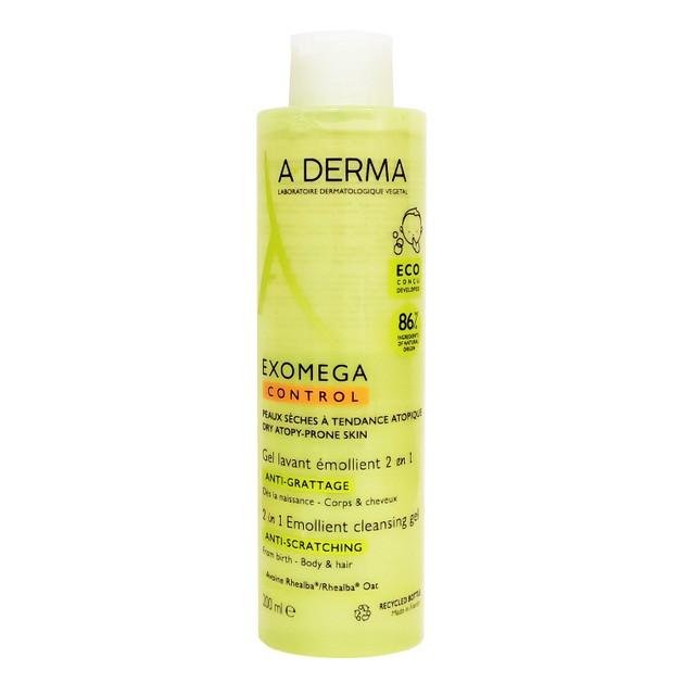 A-Derma Exomega Control Gel Lavant Emollient 2 en 1 Ενυδατικό Ζελ Καθαρισμού για Ατοπικό - Ξηρό Δέρμα για Σώμα & Μαλλιά 200ml