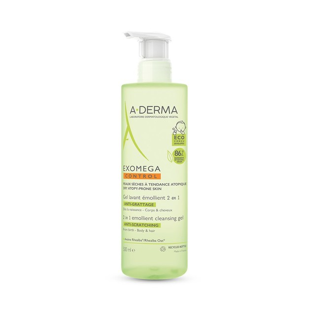 A-derma Exomega Control 2in1 Cleansing Anti-Scratching Emollient Gel for Body & Hair 500ml