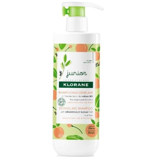 Klorane Junior Detangling Shampoo with Peach Fragrance Απαλό Προστατευτικό Παιδικό Σαμπουάν με Αρωμα Ροδάκινο 500ml