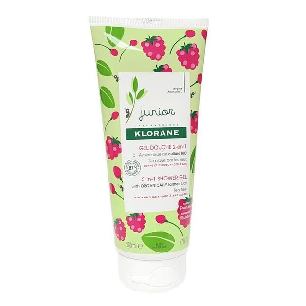 Klorane Junior 2 in 1 Shower Gel Pear Παιδικό Αφρόλουτρο για Σώμα και Μαλλιά με Άρωμα Raspberry 200ml