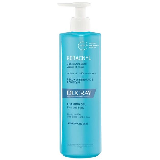Ducray Keracnyl Gel Moussant Gel Καθαρισμού Προσώπου & Σώματος για Δέρματα με Ατέλειες & Τάση Ακμής 400ml Promo -20%