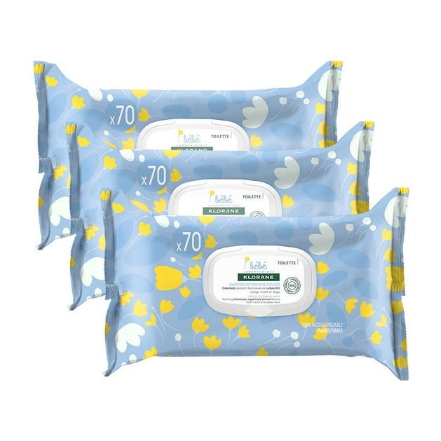 Klorane Promo Bebe Gentle Cleansing Wipes Απαλά Βρεφικά Μαντηλάκια Καθαρισμού με Καταπραϋντική Καλέντουλα 3x70 Wipes 2+1 Δώρο
