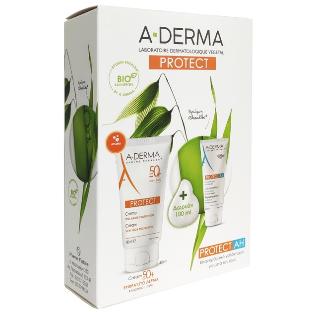 A-Derma Protect Cream Very High Protection Spf50+, 40ml & Δώρο Protect AH Lait Reparateur Apres Soleil 100ml