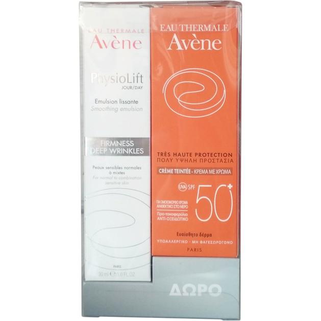 Avene Πακέτο Προσφοράς Physiolift Emulsion Lissante Αντιρυτιδική Λειαντική Κρέμα Ημέρας 30ml & Δώρο Tinted Creme Spf50+, 50ml