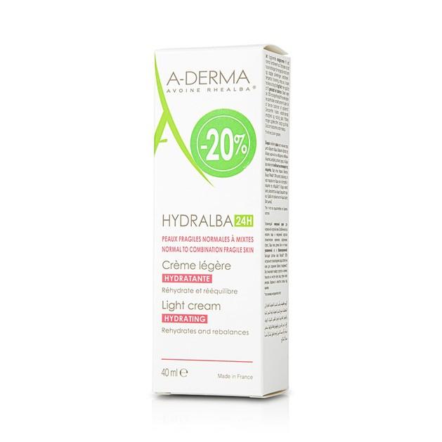 A-Derma Hydralba 24h Hydratante Legere Cream Λεπτόρευστη Ενυδατική Κρέμα για Κανονική, Μικτή Επιδερμίδα 40ml Promo -20%